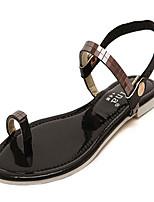 Chaussures Femme Similicuir Talon Plat Bout Ouvert Sandales Décontracté Noir/Argent/Or
