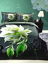 Black/Green Polyester/Poly/Cotton King Duvet Cover Sets