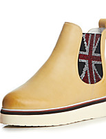 Women's Shoes Leather Flat Heel Combat Boots/Round Toe Boots Casual Yellow/Beige
