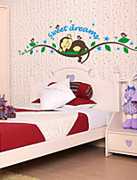 Wall Stickers Wall Decals, Cartoon Monkey Sleeping Tree PVC Wall Sticker