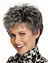 Grey mix Natural Look Short Straight Synthetic hair Wigs