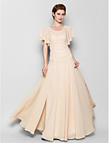 Sheath/Column Mother of the Bride Dress - Pearl Pink Floor-length Short Sleeve Chiffon