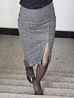 Women's Bodycon/Work Knee-length Skirts , Tweed/Wool Blends Inelastic