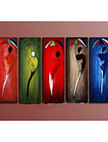 Hand-Painted Abstract Multicolor Portrait Oil Painting on Canvas  5pcs/set Without Frame