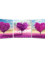 Romantic Heart-shaped  Tree Landscape Canvas Print Stretched Canvas Print Three Panels High Quality Canvas Ready to Hang