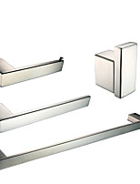 Polish Stainless Steel Bathroom Accessories Set with Towel Ring Robe Hook Toilet Paper Holder and Single Towel Bar
