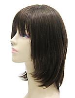Capless Medium Long Black Silky Straight Human Hair Wig