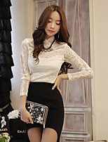 Women's Solid/Lace White/Black/Gold Shirt Long Sleeve Lace/Hollow Out