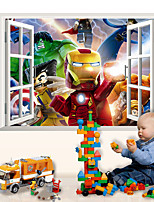 Wall Stickers Wall Decals, 3D Super Heroes Iron Man PVC Wall Sticker