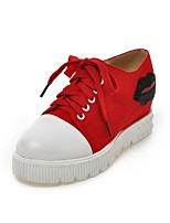 Zapatos de mujer Tela/Semicuero Tacón Cuña Cuñas/Comfort Sneakers a la Moda Casual/Deporte Rojo/Blanco
