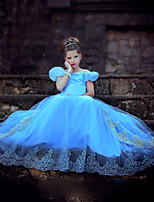 Girl's Summer Dress Inelastic Cinderella Princess Dress Short Sleeve Dresses (Organza)