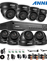 ANNKE® 16CH DVR eCloud HDMI 1080P/VGA/BNC Output  8pcs 900TVL CMOS 24LEDS Day/Night IR-cut Cameras IP66