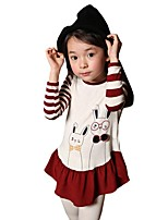 Kids Girl's Spring Fall Cartoon Tops Rabbit Striped Long-sleeved Tee (Cotton Blend)