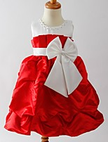 פרח שמלת ילדה - קו A - תה באורך - ללא שרוולים - סאטן