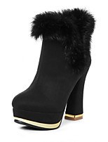 Women's Shoes Fleece Chunky Heel Fashion Boots/Round Toe Boots Dress Black/Blue/Red