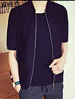 Men's Casual/Work Pure Short Sleeve Regular Jacket (Cotton Blend) XKS7E11
