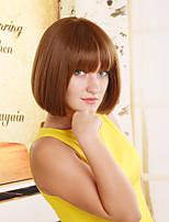 Women Synthetic Light Auburn Wig Straight 10 Inch