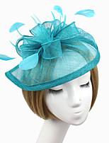 Women Fabric Headband , Party Feather / Satin Hat Headpiece