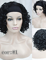 Premium Quality Natural Short Wavy Curly 3/4 Wig Black Headband Wigs free shipping