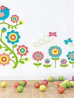 Wall Stickers Wall Decals Style Colorful Flower PVC Wall Stickers