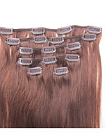 15 Inch 7Pcs/70g Clip in Brazilian Human Hair Extentions Silky Straight #4 Medium Brown