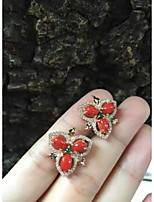 925 Silver Red Coral Studded Earrings