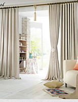 (One Panel)Classical Jacquard Pure White Color Thick Linen  Room Darkening Curtain