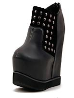 Chaussures Femme Laine synthétique/Faux Cuir Talon Compensé Bout Arrondi Bottes Décontracté Noir