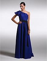 Floor-length Chiffon/Satin Bridesmaid Dress - Royal Blue Sheath/Column One Shoulder