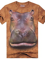 3D Printing Round Neck Short-sleeve Hippo T-Shirt (Cotton)