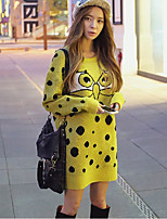 Women's Black/Yellow Dress , Casual/Party Long Sleeve