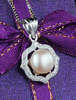 Women's Silver Necklace With Imitation Pearl/Cubic Zirconia
