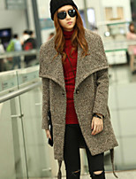 Women's Fashion Big Lapel Collar Laceing Long Sleeved Woolen Coat(with Belt)