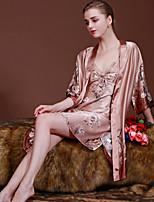 Women Polyester Satin & Silk/Ultra Sexy Appeal Nightwear(Robe+Dress)