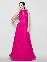 Floor-length Chiffon Bridesmaid Dress - Fuchsia Plus Sizes / Petite Sheath/Column High Neck