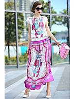 Women's Print/Patchwork/Color Block Multi-color T-shirt , Bateau Short Sleeve