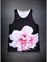 European Style Double Net Hole Vest Digital Printing 3D Sleeveless Beautiful Flower Harajuku Vest