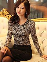 Women's Sexy/Lace Inelastic Long Sleeve Regular T-shirt (Lace)