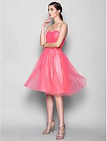 Knee-length Tulle Bridesmaid Dress - Watermelon A-line Sweetheart