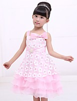 Girl's Mesh/Satin Dress , All Seasons Sleeveless