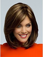 2015 Peluca Peruca Sexy Bob Synthetic Hair Wigs Medium Long Straight Brown Wig for Women Full Wig with Side Bangs