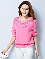 xiw&F Women's Casual/Cute Loose Embroidery Trumpet  ½ Length Sleeve  Blouse (Chiffon)