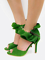 Women's Shoes Faux Suede Stiletto Heel Toe Ring/Round Toe Sandals Party & Evening/Dress Green