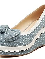 Women's Shoes Denim Wedge Heel Wedges/Heels/Platform/Round Toe Pumps/Heels Casual Blue/Navy