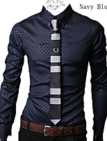 Men's Casual/Work/Formal/Plus Sizes Print/Striped/Plaids & Checks Long Sleeve Dress Regular Shirt (Cotton Blend)