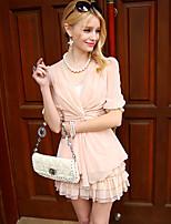 Pink Doll®Women's V Neck Casual OL 1/2 Sleeve Regular Shirt