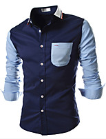 Men's Long Sleeve Shirt , Cotton/Polyester Casual Pure