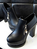 Women's Shoes Faux Leather Chunky Heel Heels Pumps/Heels Casual Black/White