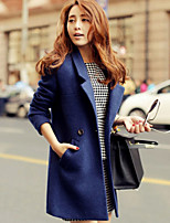 Women's Vintage/Work Thick Long Sleeve Long Coat (Cotton/Wool Blends)