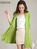 Women's Casual/Plus Sizes Stretchy Medium Long Sleeve Cardigan (Cotton/Knitwear)SF7E02